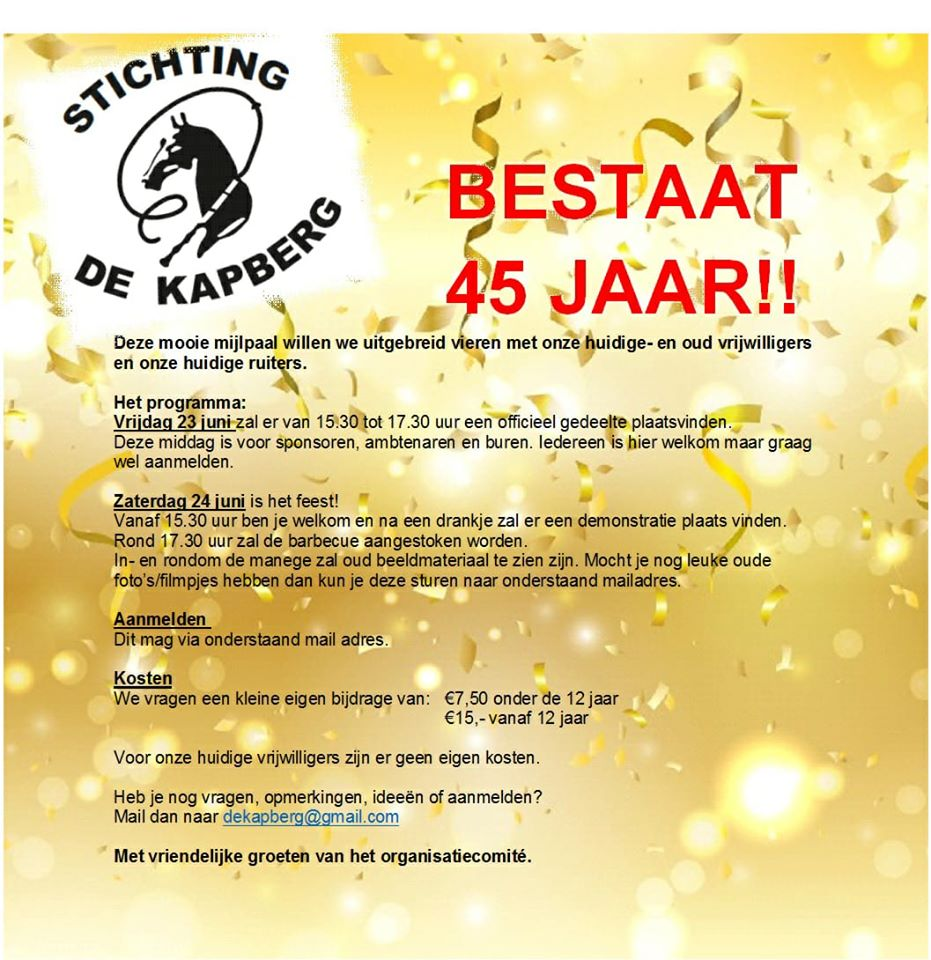 45 Jarig Jubileum Stichting De Kapberg